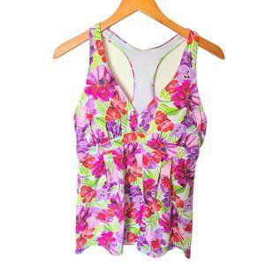 Lands' End Women Purple Floral Swimsuit Top 12